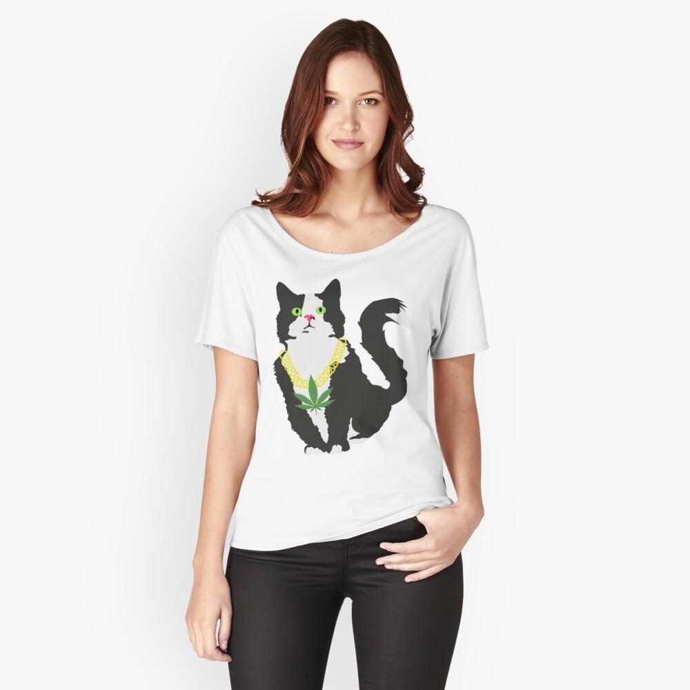 Gato stoner Camiseta ancha