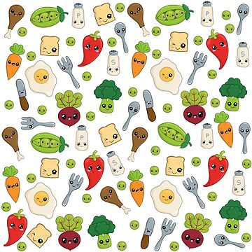 Cute Kawaii Food Pattern by ValentinaHramov