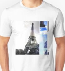 Eiffel Tower Paris in Black and White with Blue Stripe Unisex T-Shirt