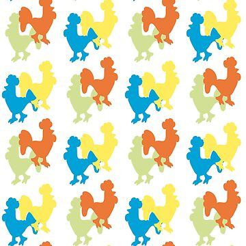 The pattern of silhouettes of roosters by NataliaL