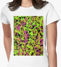 geometric triangle pattern abstract in green black pink Women's Fitted T-Shirt