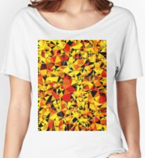 geometric triangle pattern abstract in orange yellow red Women's Relaxed Fit T-Shirt