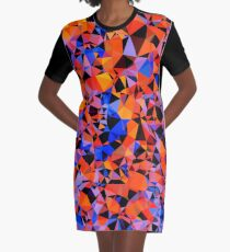 geometric triangle pattern abstract in blue orange red Graphic T-Shirt Dress