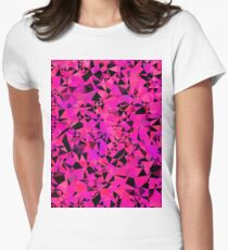 geometric triangle pattern abstract in pink and black Women's Fitted T-Shirt
