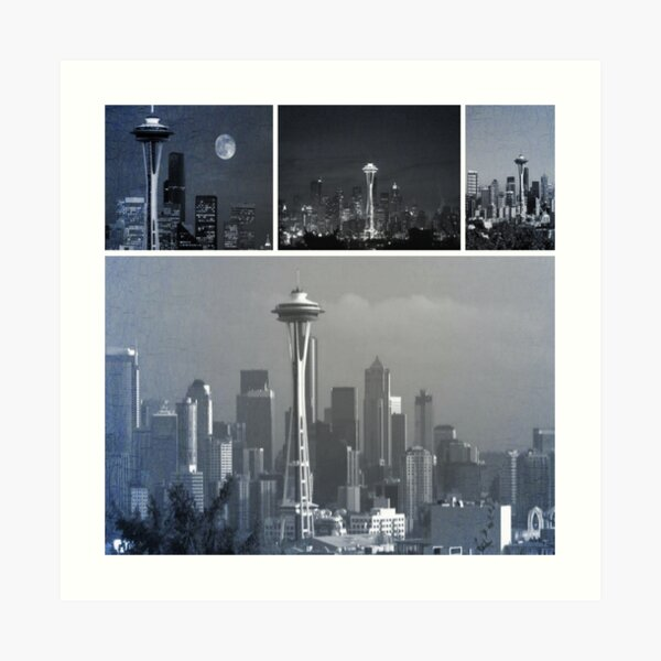 Grey Seattle Space Needle Collage Art Print