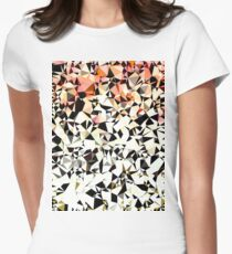 geometric triangle pattern abstract in pink brown black Women's Fitted T-Shirt