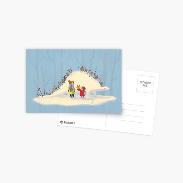 Snowy Stegosaurus Postcard
