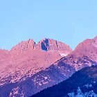 Mount Olympos with a snowy peak in the pink rays of the rising sun. Litochoro. Greece by Emma Grimberg