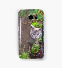 """Peek-A-Boo"" Blue-Eyed Kitty Samsung Galaxy Case/Skin"