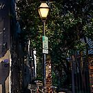 Bicycle Chained to Black Lamp Post by dbvirago