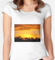 A Flock of Geese in A Golden Sky Women's Fitted Scoop T-Shirt