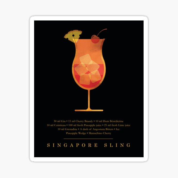 Singapore Sling - Cocktail - Classic Cocktails Series - Black and Gold - Modern, Minimal Decor Sticker