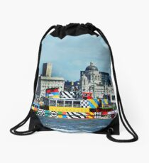 MV Snowdrop on River Mersey painted as a Dazzle Ship Drawstring Bag