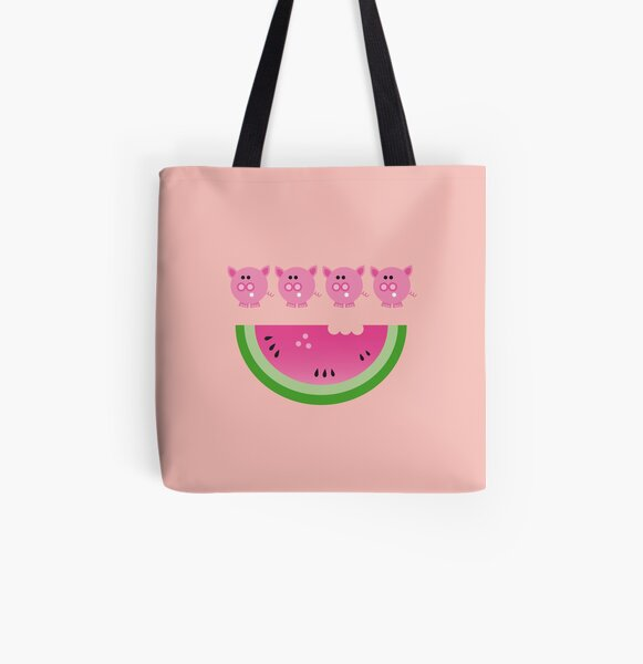 pigs love watermelon  All Over Print Tote Bag