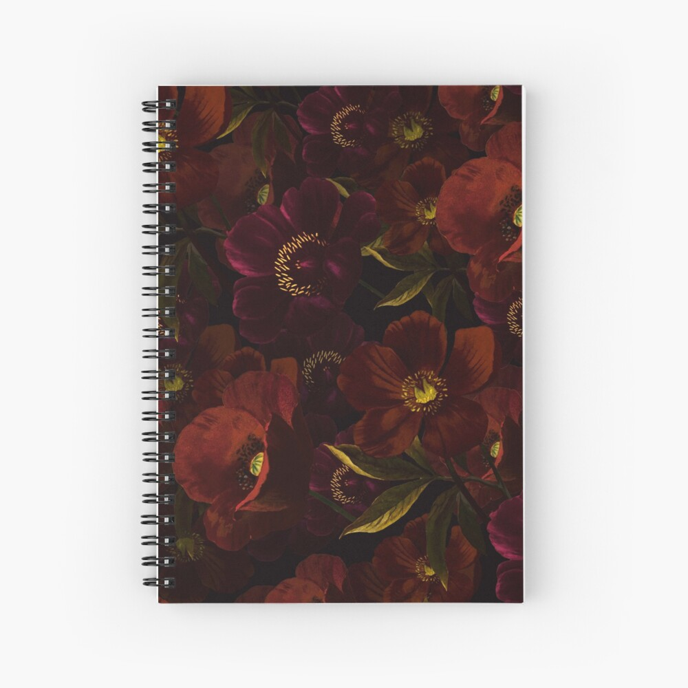 Poppies at night Spiral Notebook