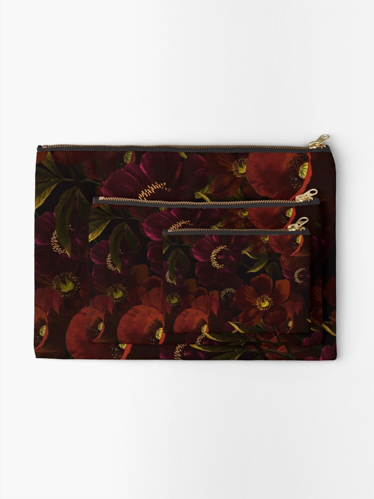 Alternate view of Poppies at night Zipper Pouch