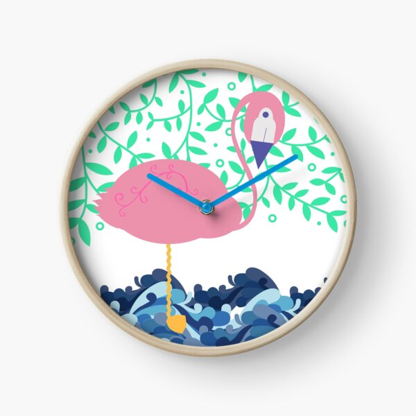 Flamingo in water Clock