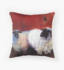 Frick and Frack - Sheep, from original oil painting by Madeleine Kelly Throw Pillow