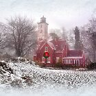 Christmas at Presque Isle Lighthouse - Erie, PA by Kathy Weaver