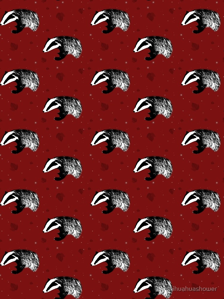 Badger print in red by chihuahuashower
