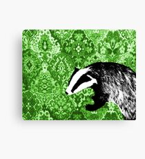 Badger on green tapestry Canvas Print