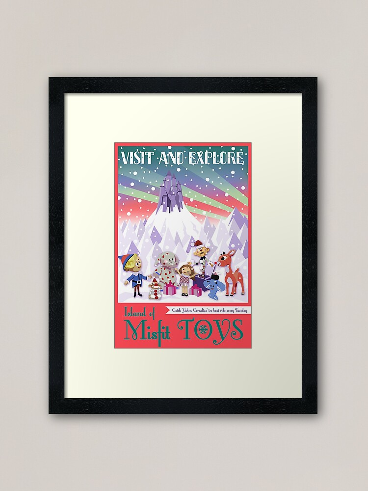 Alternate view of Island of Misfit Toys - Rudolph Vintage Style Travel Poster Framed Art Print