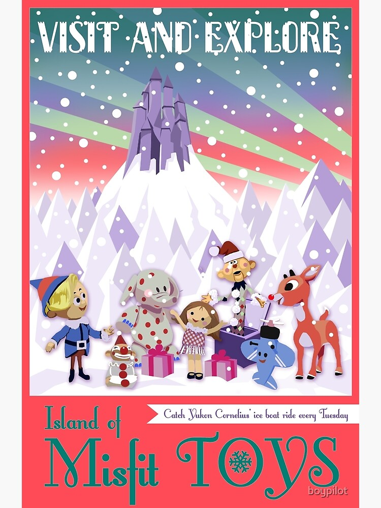 Island of Misfit Toys - Rudolph Vintage Style Travel Poster by boypilot