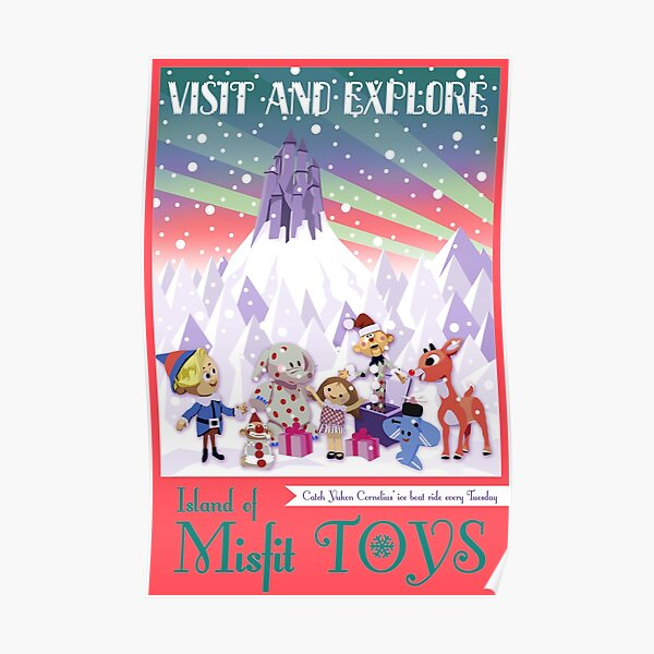 Island of Misfit Toys - Rudolph Vintage Style Travel Poster Poster