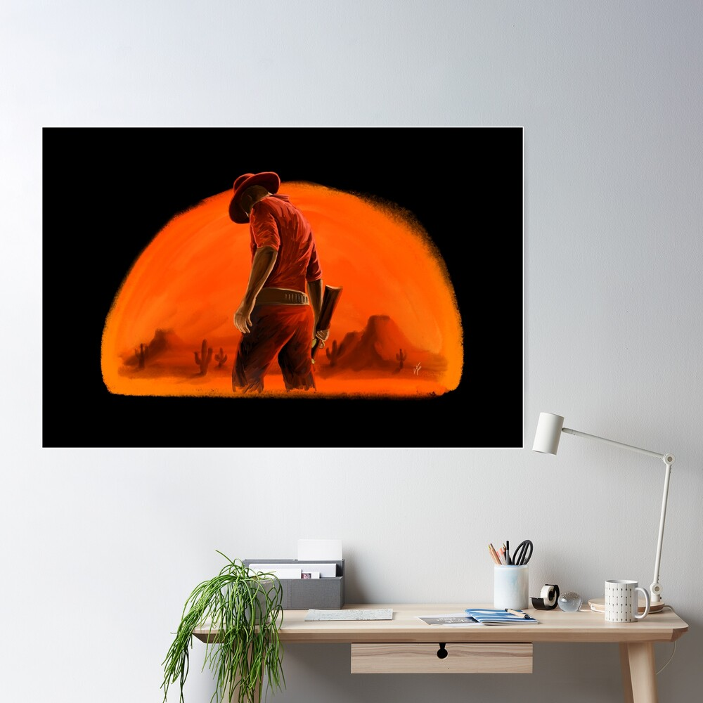 Western Cowboy Sunset Poster
