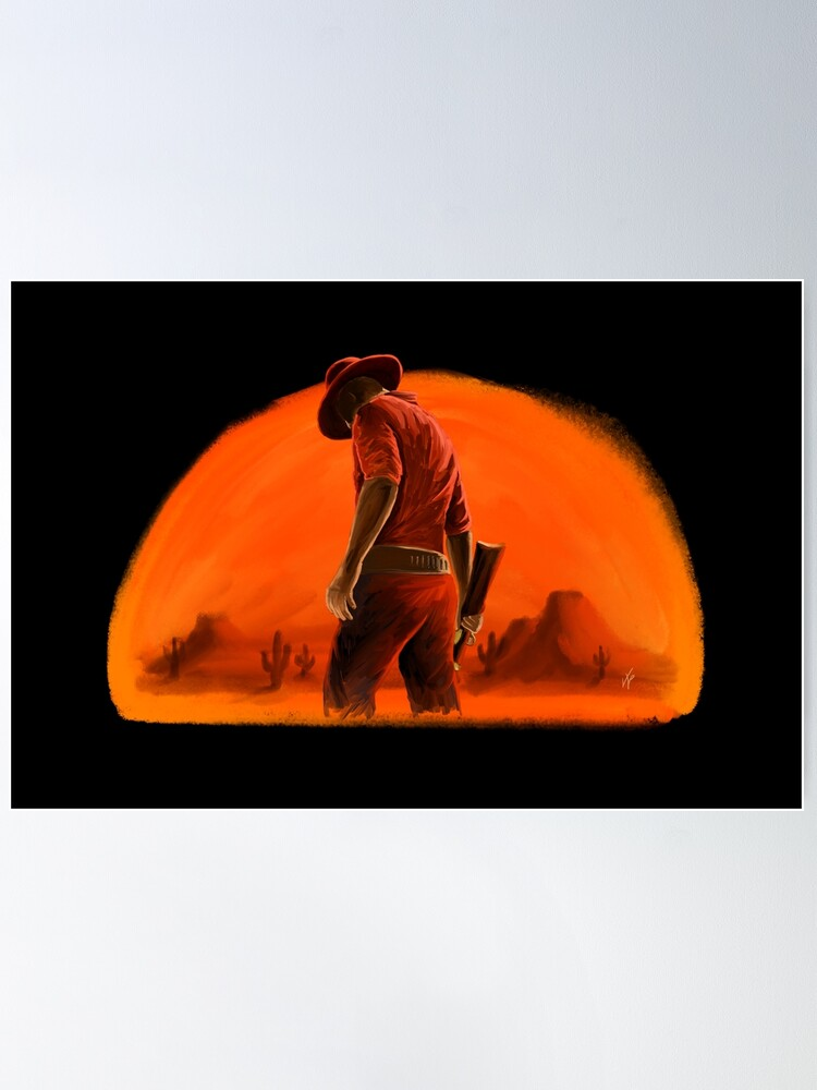 Alternate view of Western Cowboy Sunset Poster