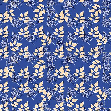 The pattern of leaves on a blue background by NataliaL