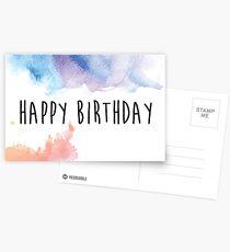 Watercolor Happy Birthday Postcards