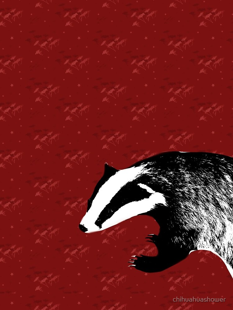 Badger on botanical red pattern by chihuahuashower