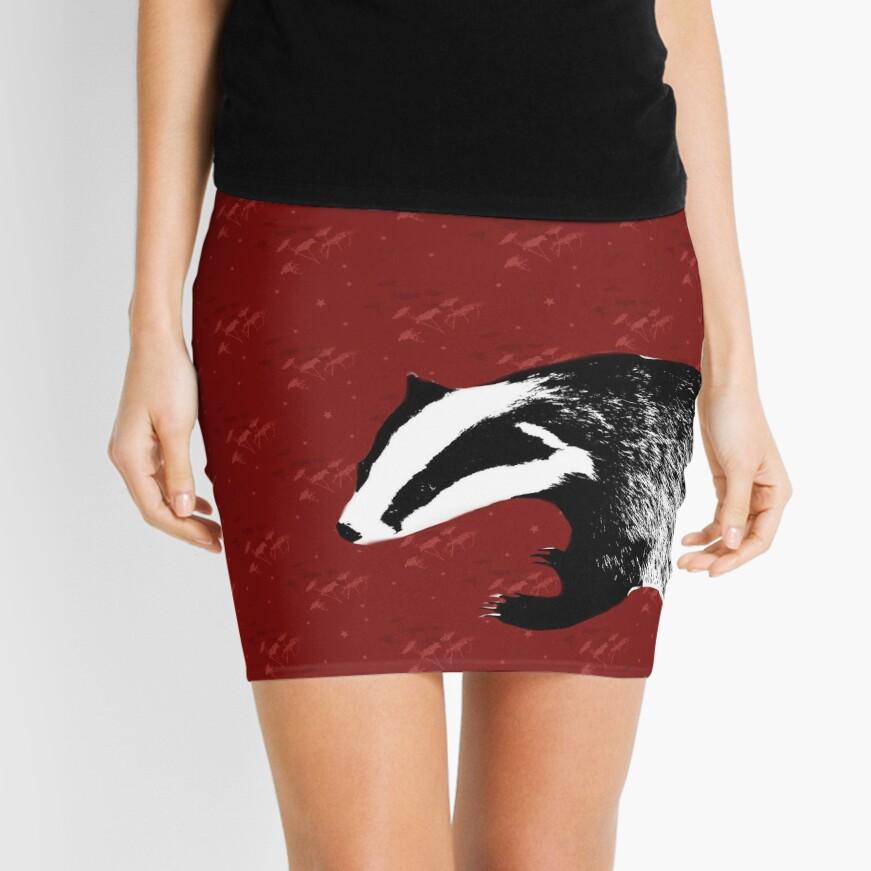 Badger on botanical red pattern Mini Skirt