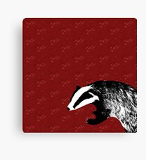 Badger on botanical red pattern Canvas Print