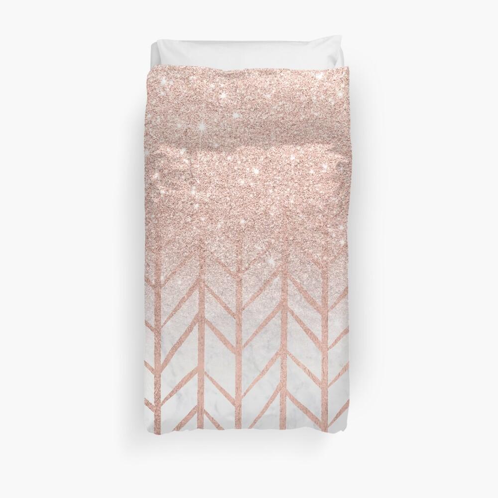 Modern rose gold glitter ombre herringbone chevron pattern on white marble Duvet Cover