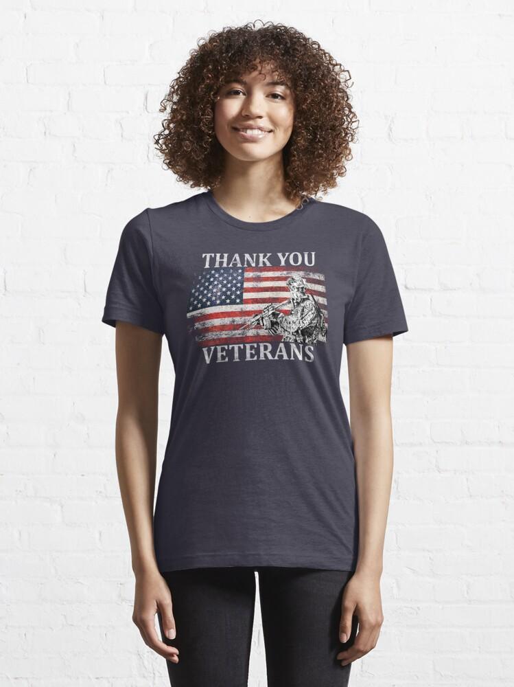 Alternate view of American Flag Thank You Veterans Veteran's Day Soldier Shirt Gear Essential T-Shirt