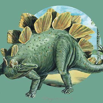 Stegosaurus (Circle Background) by lewisroland