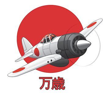 Japanese Zero, WWII Aircraft in Flight by Chunga