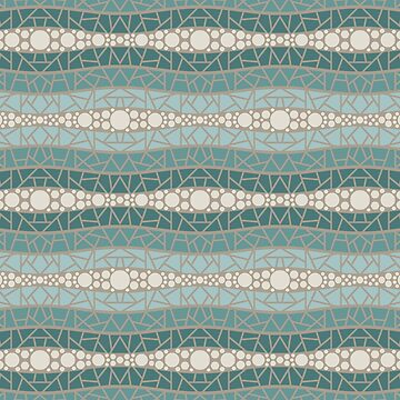 Mosaic Wavy Stripes in Coastal Teals and Cream by MelFischer