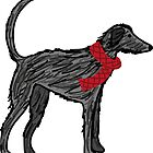 Lurcher scruff with red scarf by lizmaydesigns