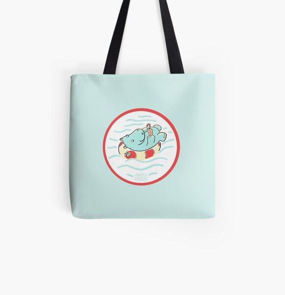Nilpferd im Schwimmreif - Logo Allover-Print Tote Bag