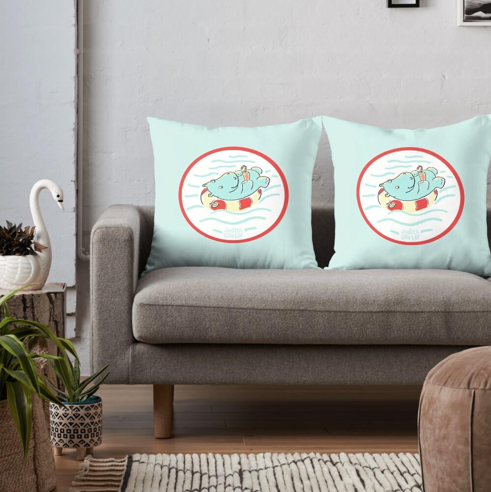 Nilpferd im Schwimmreif - Logo Dekokissen