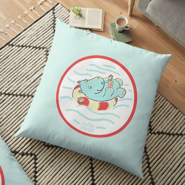 Nilpferd im Schwimmreif - Logo Bodenkissen