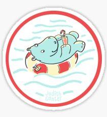 Nilpferd im Schwimmreif - Logo Sticker