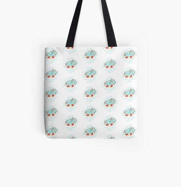 Nilpferd im Schwimmreif - Muster Allover-Print Tote Bag