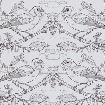 Chaffinch Toile de Jouy Inspired Pale Grey by lewisroland