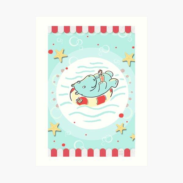 Nilpferd im Schwimmreif - Markise Kunstdruck