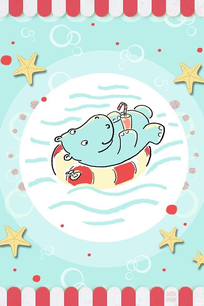 Nilpferd im Schwimmreif - Markise von Judith Ganter