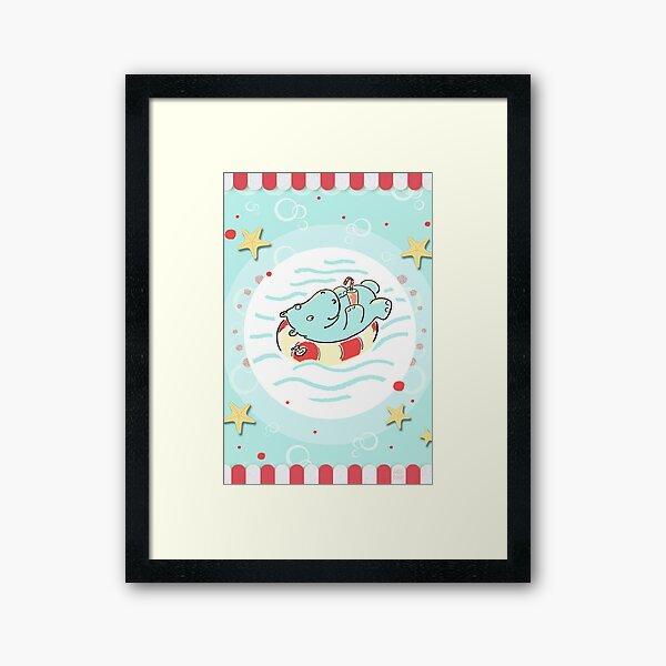 Nilpferd im Schwimmreif - Markise Gerahmter Kunstdruck